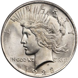 A 1928 Silver Peace Dollar (Front)