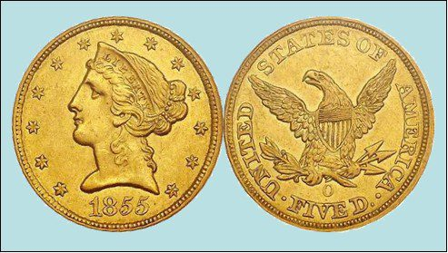 American Gold Coinage - 1855 New Orleans Mint $5 Piece