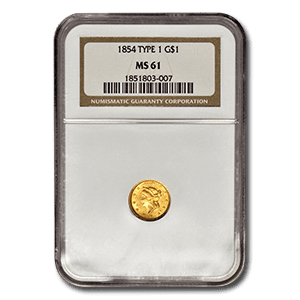 Numismatic Gold Coin. 1854 $1 Gold Coin Type 1. Graded MS 61 By NGC