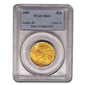 1909 $10 Gold Indian In Mint State 63 Graded By PCGS