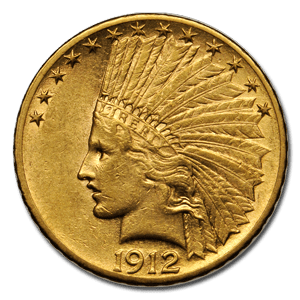 1912 Indian Head $10 Gold Coin In XF Condition
