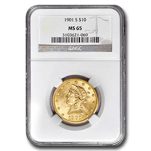 A Numismatic Gold Coin. 1901S $10 Liberty MS 65