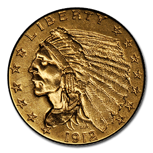 A 1912 $2.5 Indian Gold Coin In Circulated Condition