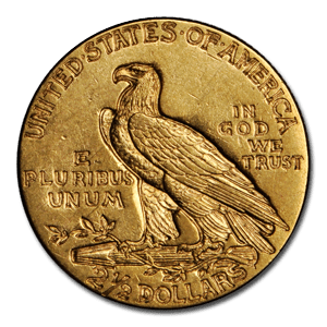 The Back (Reverse) Side Of A 1912 $2.5 Indian Gold Coin