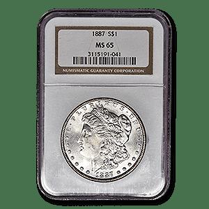 1887 Morgan Silver Dollar In Mint State 65