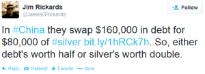 This Tweet By Jim Rickards Comments On Debt Vs. Metals