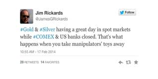 Jim Rickards' Tweet Discussing The Metals Markets When Bankers Don't Interfere