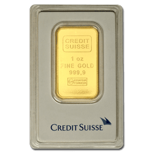 This 1 ounce Credit Suisse Gold Bar is eligible to be held inside of a Gold Backed IRA
