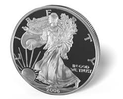 """A """"Proof"""" American Silver Eagle. Notice The Polished And Matte Design."""