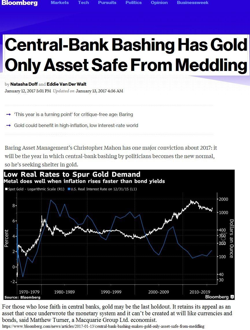1-18-17 Central Bank Bashing Makes Gold only asset safe