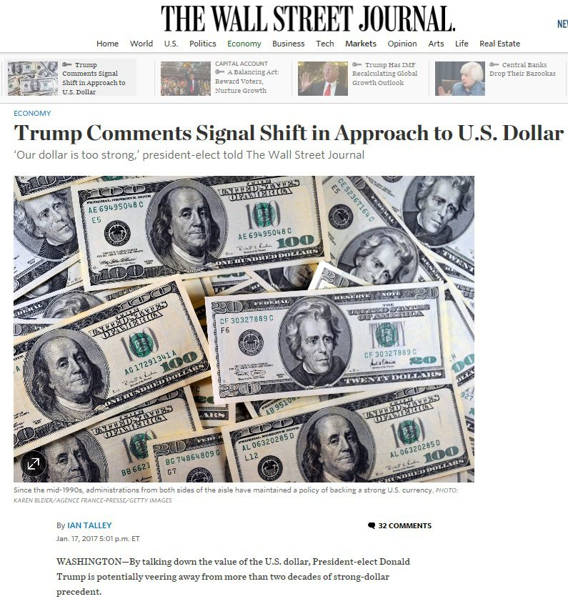 1-18-17 Trump Comments Signal Shift in Approach to US Dollar