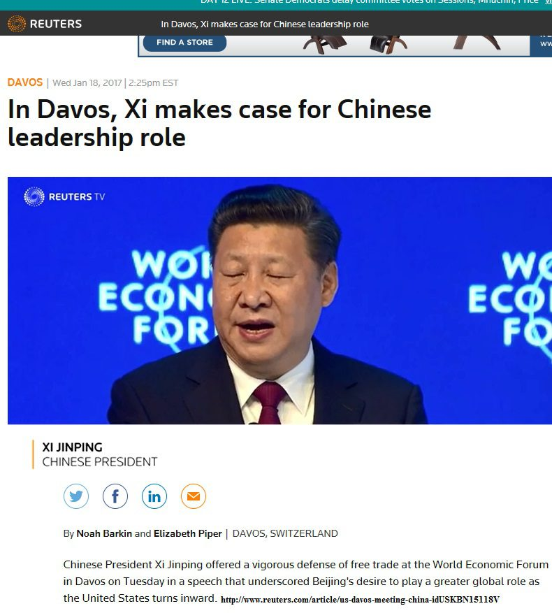 2-1-17 Chinese President at Davos re divergent china US