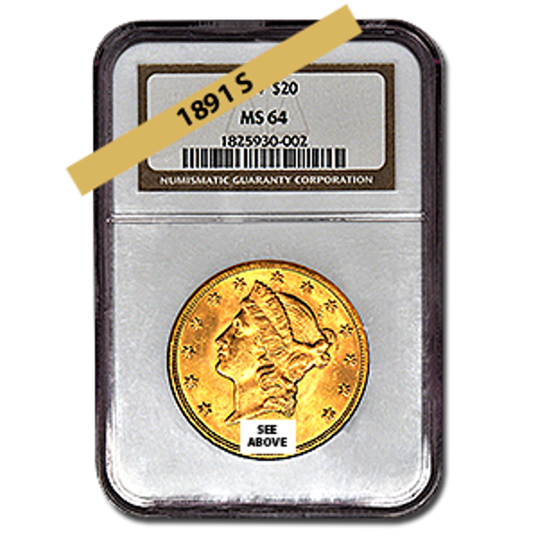 Picture of 1891S $20 Gold Liberty Double Eagle Coin MS64