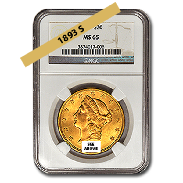 Picture of 1893S $20 Gold Liberty Double Eagle Coin MS65