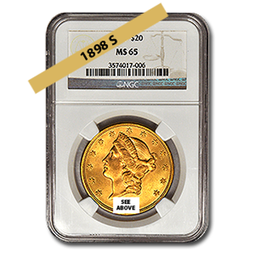Picture of 1898S $20 Gold Liberty Double Eagle Coin MS65