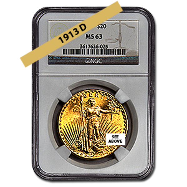 Picture of 1913D $20 Gold Saint Gaudens Double Eagle Coin MS63