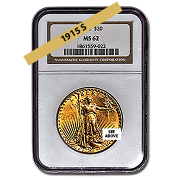 Picture of 1915S $20 Gold Saint Gaudens Double Eagle Coin MS62