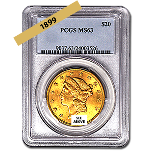 Picture of 1899 $20 Gold Liberty Double Eagle MS63