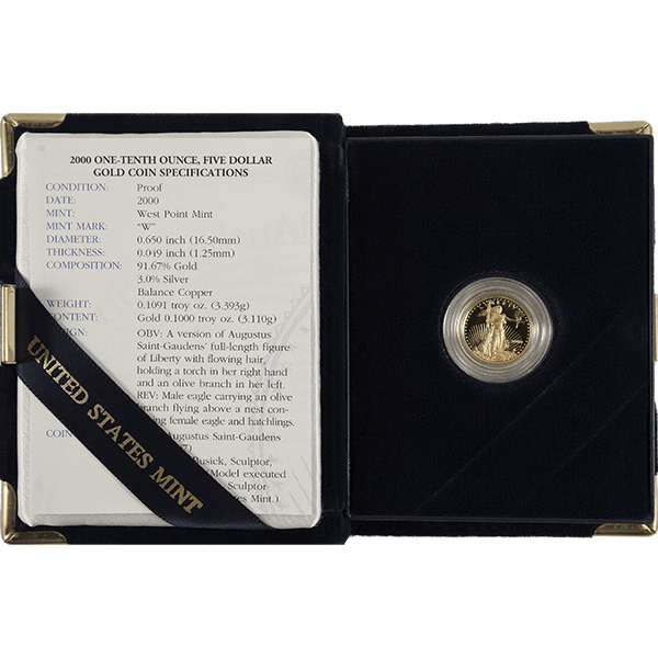 Picture of 1/10 oz Proof American Gold Eagle (Random Year, w/ CoA)