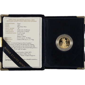 Picture of 1/4 oz Proof American Gold Eagle (Random Year, w/ CoA)
