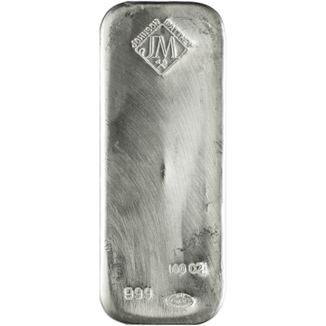 Picture of 100 oz Johnson Matthey Silver Bar (Discontinued)