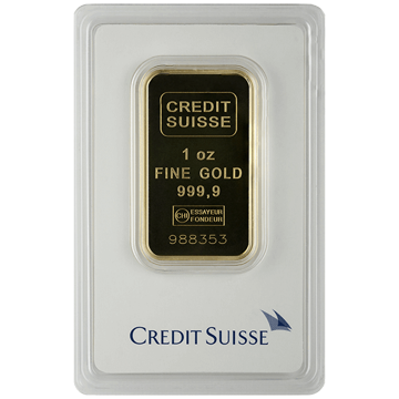 Picture of 1 oz Credit Suisse Gold Bar (w/ Assay Card)