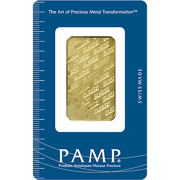Picture of 1 oz PAMP Suisse Gold Bar (NEW Design, w/ Assay Card)