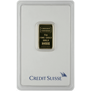 Picture of 5 Gram Credit Suisse Gold Bar (w/ Assay Card)