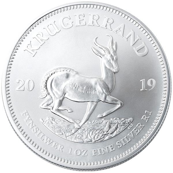 silver bullion, 2019 1 oz south african silver krugerrand, silver coin