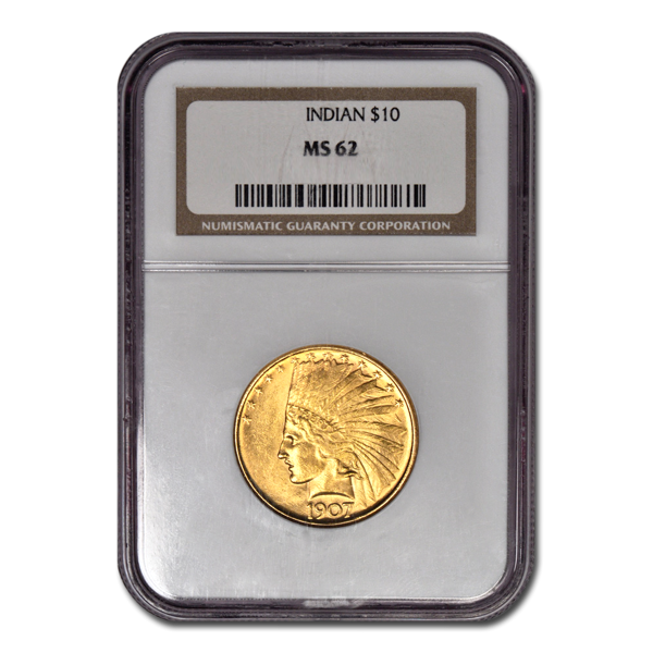 Picture of 1908NM $10 Indian Gold Coin MS62