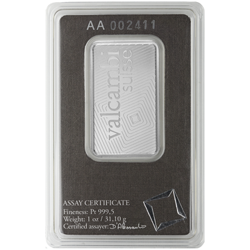 Picture of 1 oz Platinum Bar Valcambi (w/ Assay)